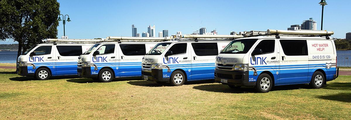 Link Plumbing & Gas Service vans